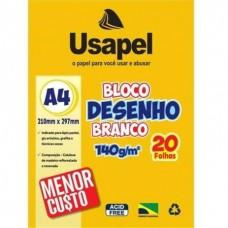 BLOCO DESENHO BRANCO A4 140G/M2 210X297MM 20FLS - USAPEL